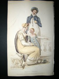 Ackermann 1809 Hand Col Regency Fashion Print. Walking Dress 1-28